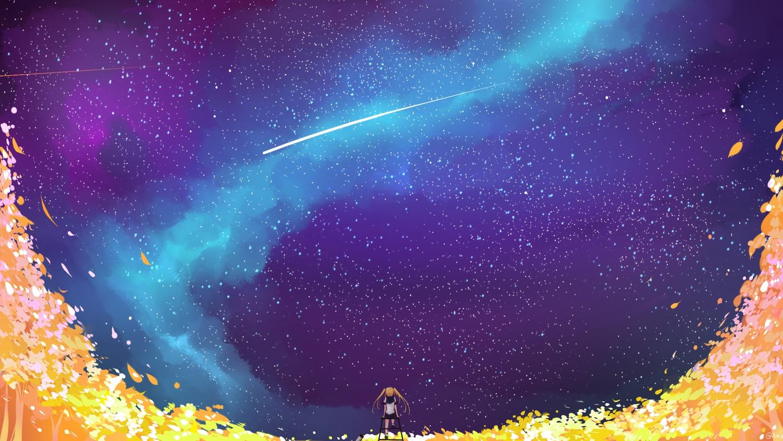 axle blonde_hair flowers long_hair original petals school_uniform skirt sky stars twintails