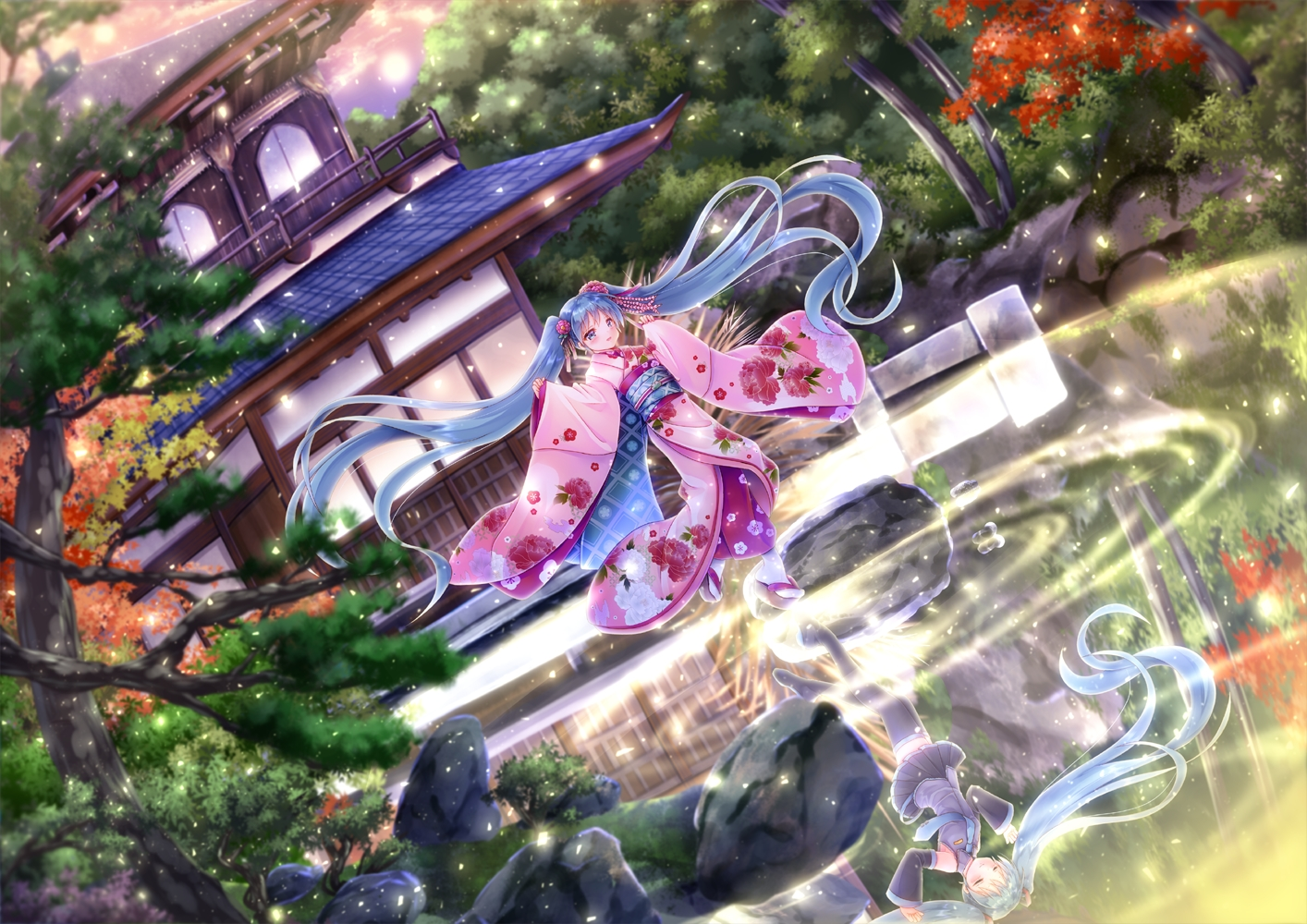building green_eyes green_hair hatsune_miku japanese_clothes kimono long_hair reflection skirt thighhighs tie tree twintails vocaloid water yorarry