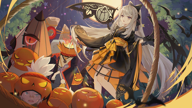 animal bat bow dress fire gloves gray_eyes gray_hair halloween japanese_clothes kimono long_hair moon onmyouji pumpkin tagme_(character) turkey_(weave7769) wings