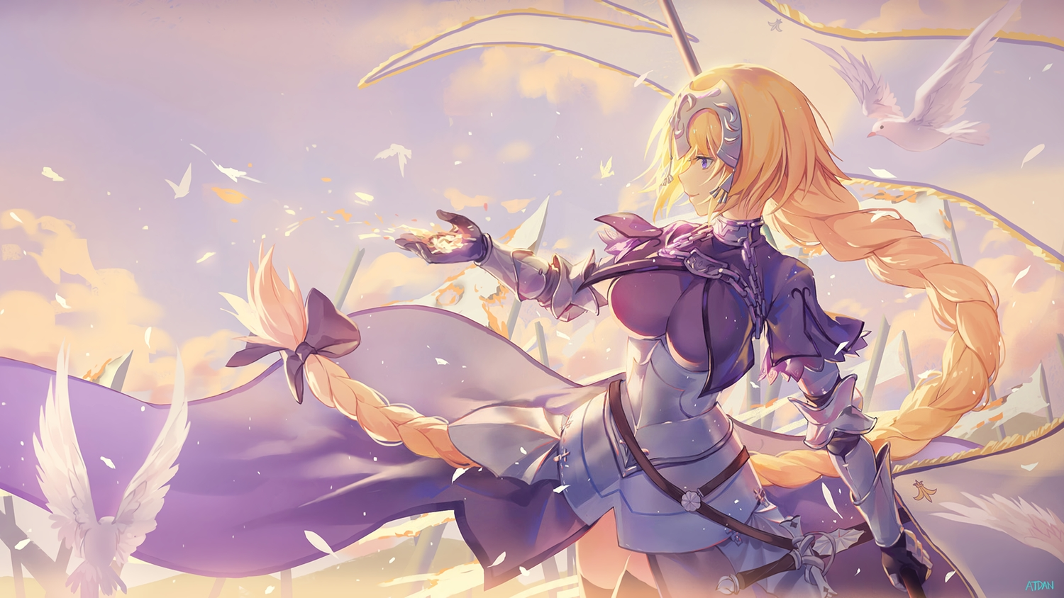 animal atdan bird blonde_hair bow braids breasts chain dress elbow_gloves fate/grand_order fate_(series) gloves headdress jeanne_d'arc_(fate) long_hair ponytail purple_eyes signed thighhighs