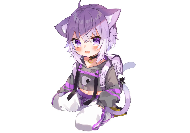 animal_ears blush catgirl collar fang hololive hoodie loli navel nekomata_okayu noi_mine purple_eyes purple_hair short_hair tail white
