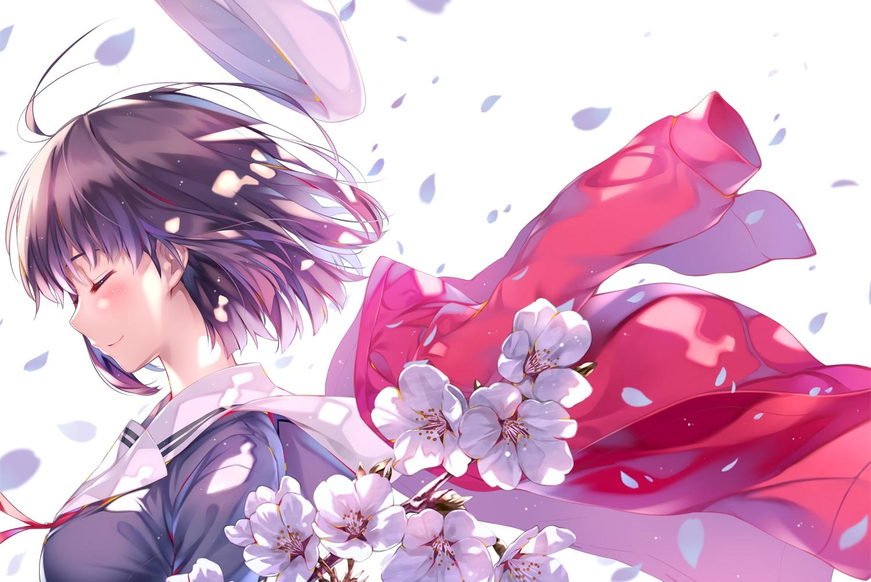 flowers hat katou_megumi misaki_kurehito petals saenai_heroine_no_sodatekata seifuku short_hair