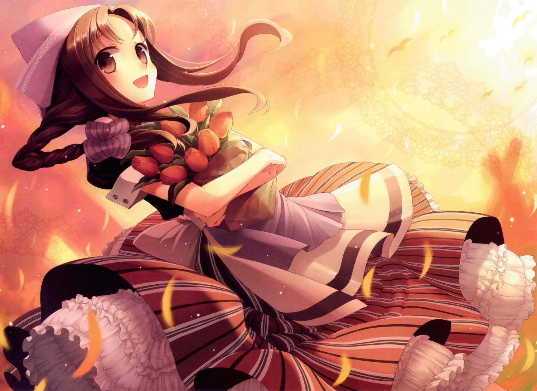 apron brown_eyes brown_hair dress flowers hat original polychromatic scan sunset yashiro_seika