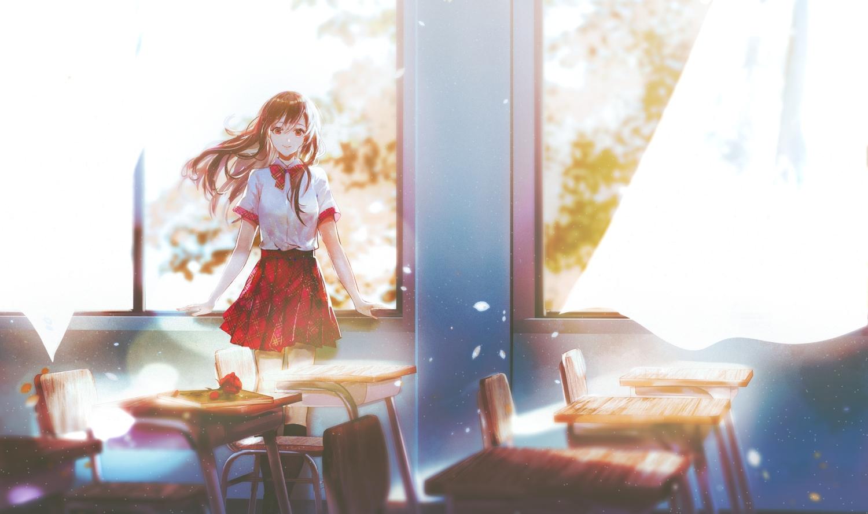 brown_eyes brown_hair flowers kneehighs long_hair original petals rose say_hana school_uniform skirt