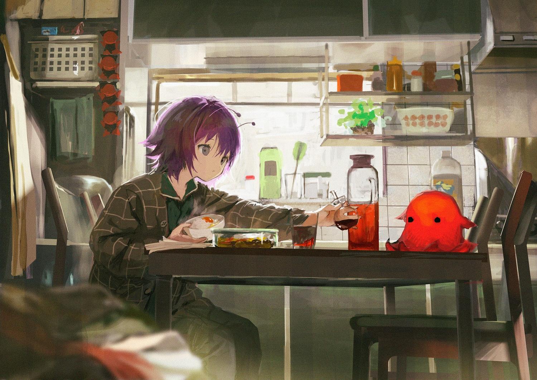 drink food gray_eyes kouka_(mrakano5456) original pajamas purple_hair short_hair