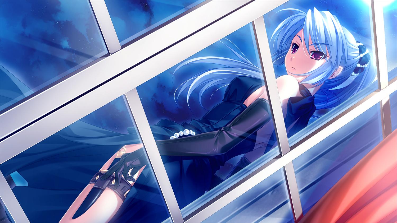 cabbit game_cg knife midori_no_umi night ponytail saeki_hokuto sara_(midori_no_umi) weapon