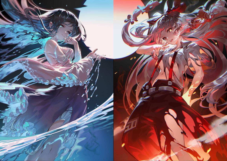 2girls aliasing fire fujiwara_no_mokou houraisan_kaguya magic torn_clothes touhou uu_uu_zan water