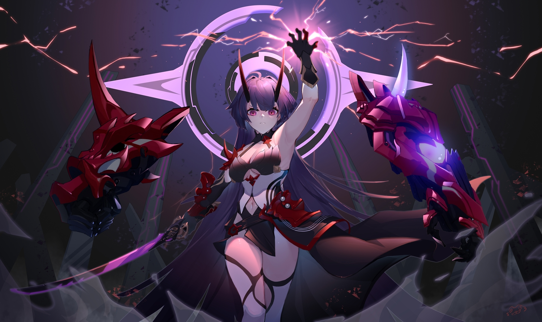 breasts cleavage gloves honkai_impact horns long_hair magic purple_eyes purple_hair raiden_mei sword weapon wucanming