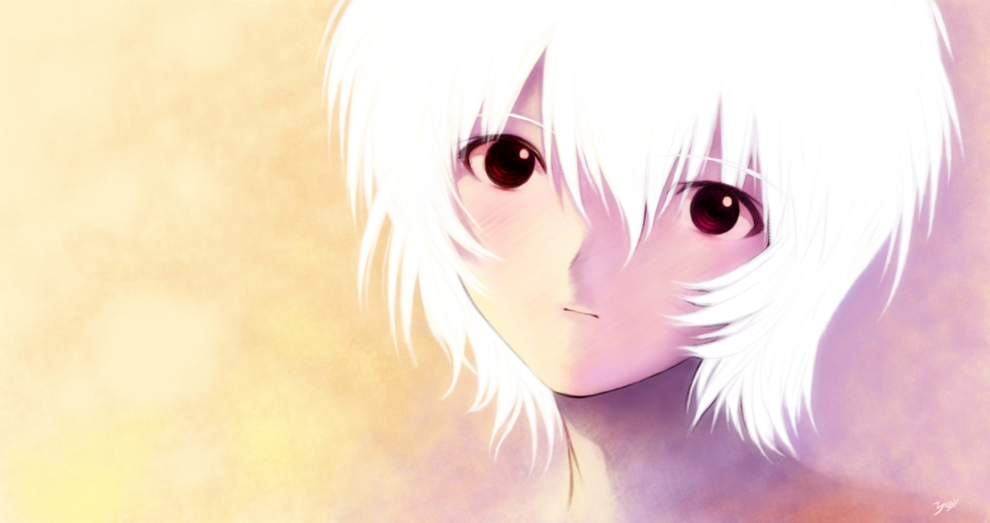 ayanami_rei close kobayashi_yuji neon_genesis_evangelion red_eyes short_hair signed white_hair