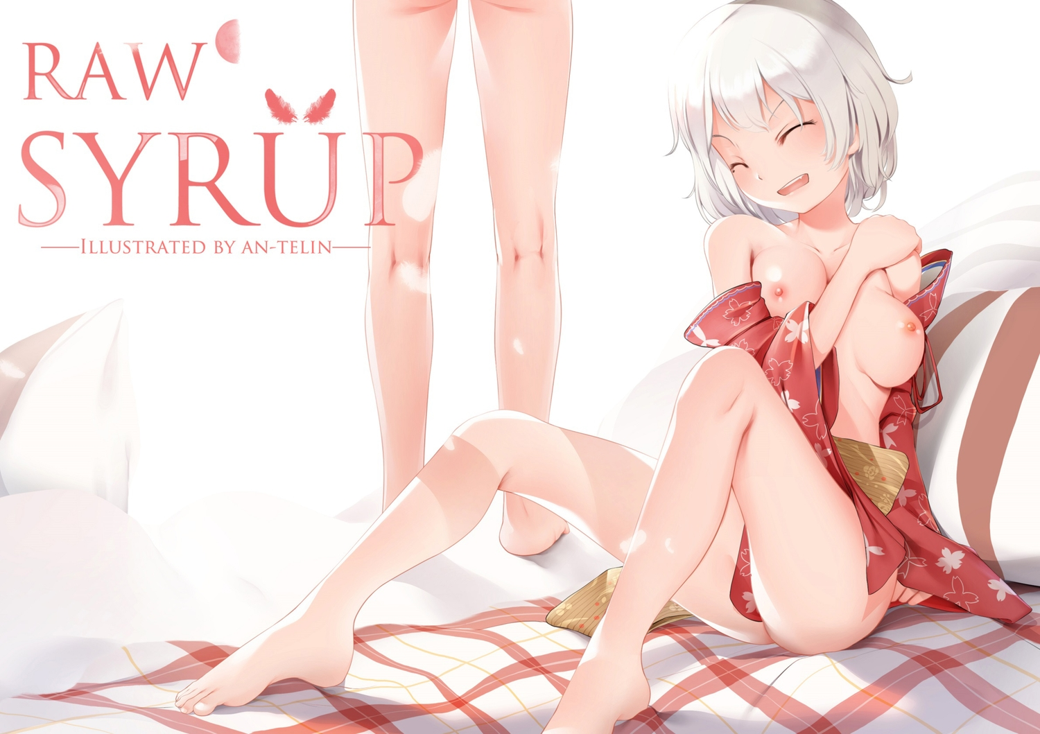 an-telin barefoot breasts japanese_clothes maple_story nipples short_hair tagme_(character) watermark white