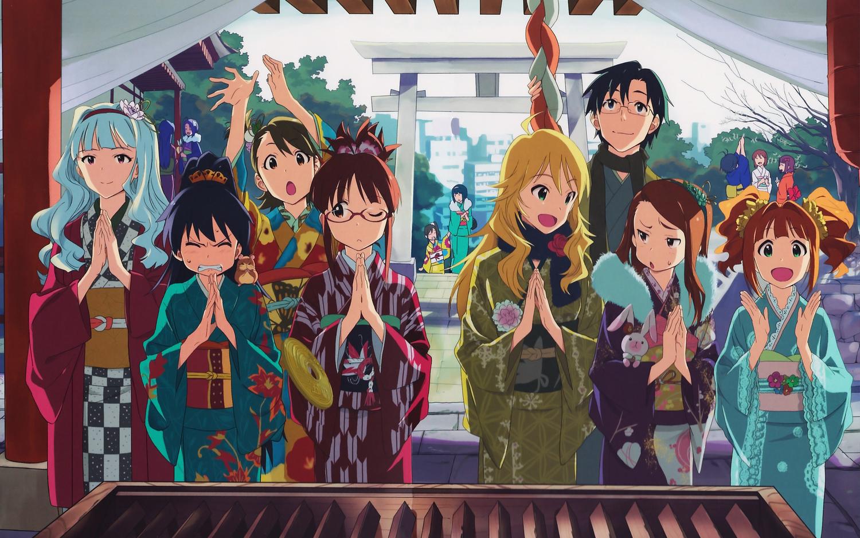 akizuki_ritsuko amami_haruka animal brown_hair futami_ami futami_mami ganaha_hibiki group hagiwara_yukiho hamuzou hoshii_miki idolmaster japanese_clothes kikuchi_makoto kisaragi_chihaya male minase_iori miura_azusa otonashi_kotori producer_(idolmaster) scan shijou_takane takatsuki_yayoi twins winter