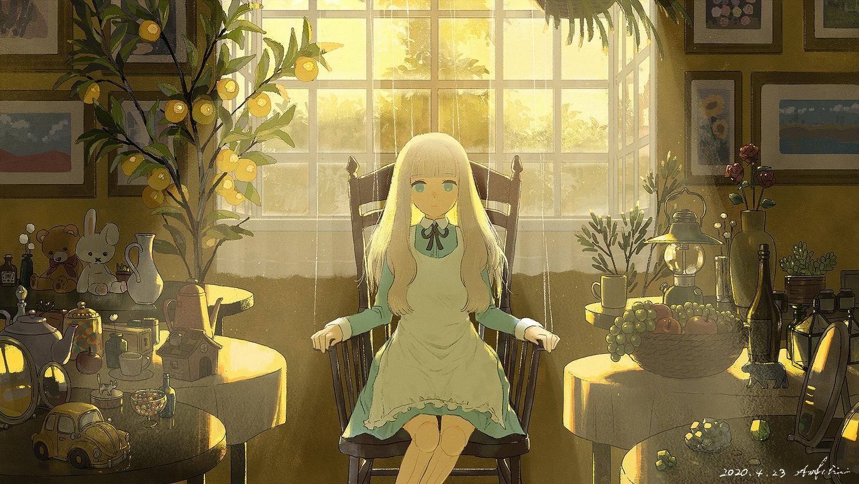 ao_fujimori apple apron blonde_hair blue_eyes bunny candy doll dress food fruit long_hair original puppet signed teddy_bear tree