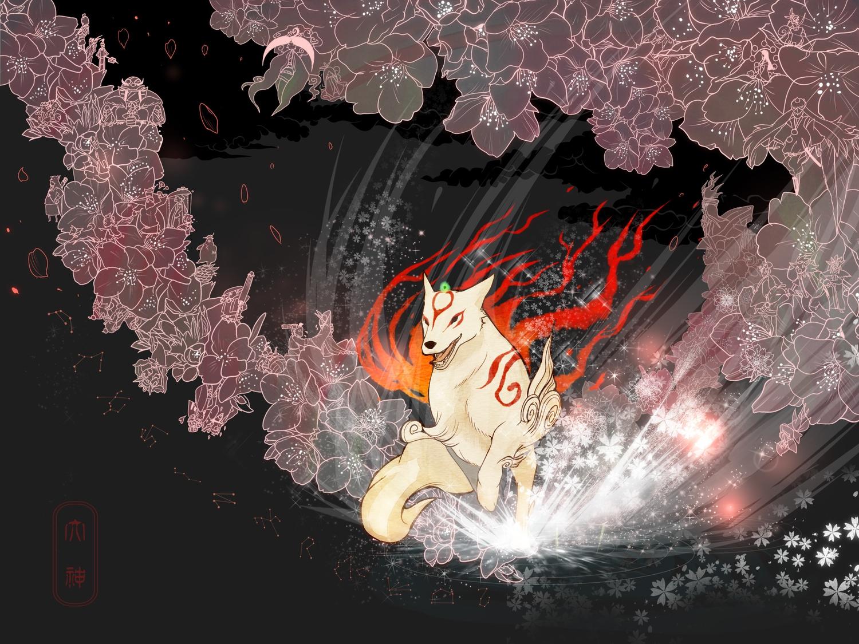 amaterasu animal fire flowers hiko_(lg612) issun jpeg_artifacts okami sakuya ushiwakamaru wolf