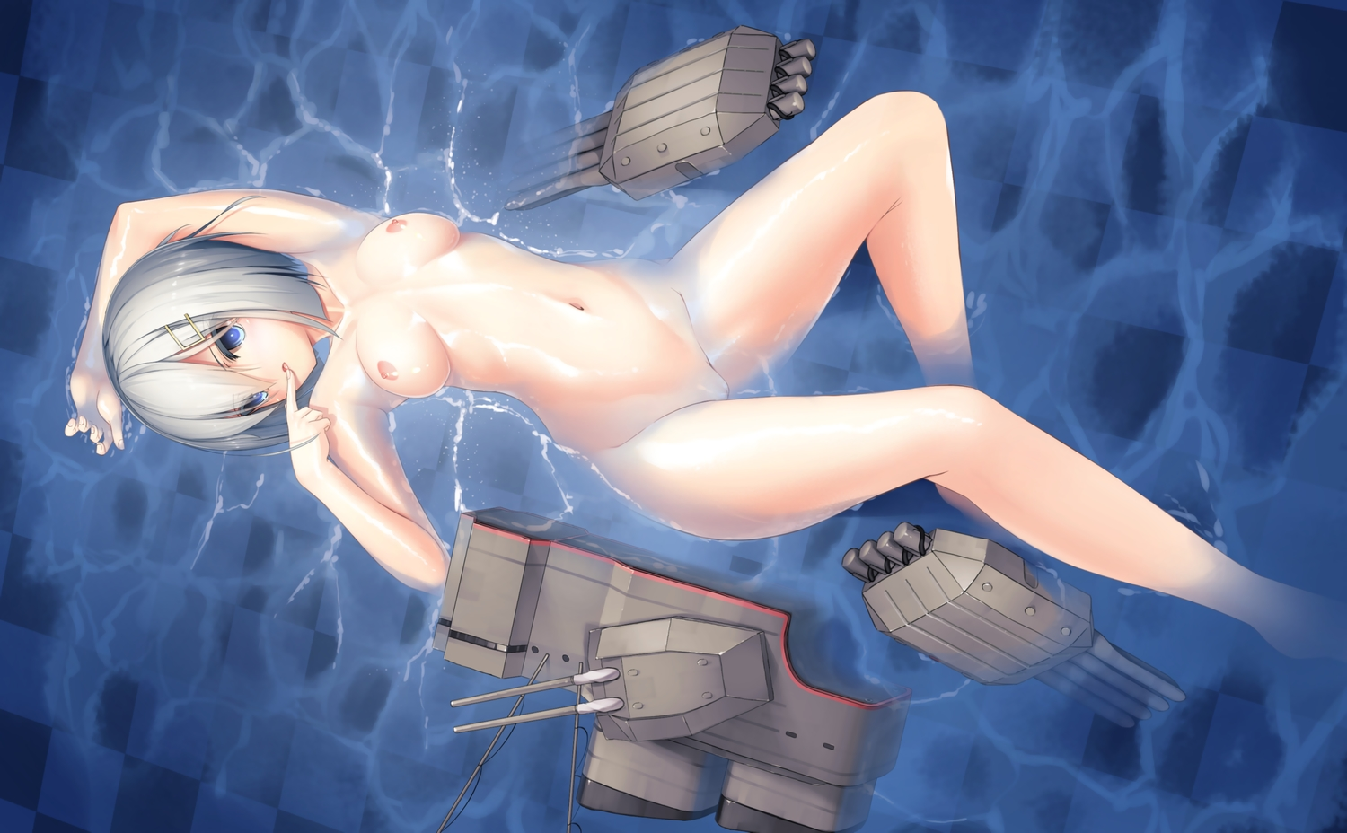 anthropomorphism aqua_eyes breasts dobunezumi gray_hair hamakaze_(kancolle) kantai_collection nipples nude pussy uncensored water