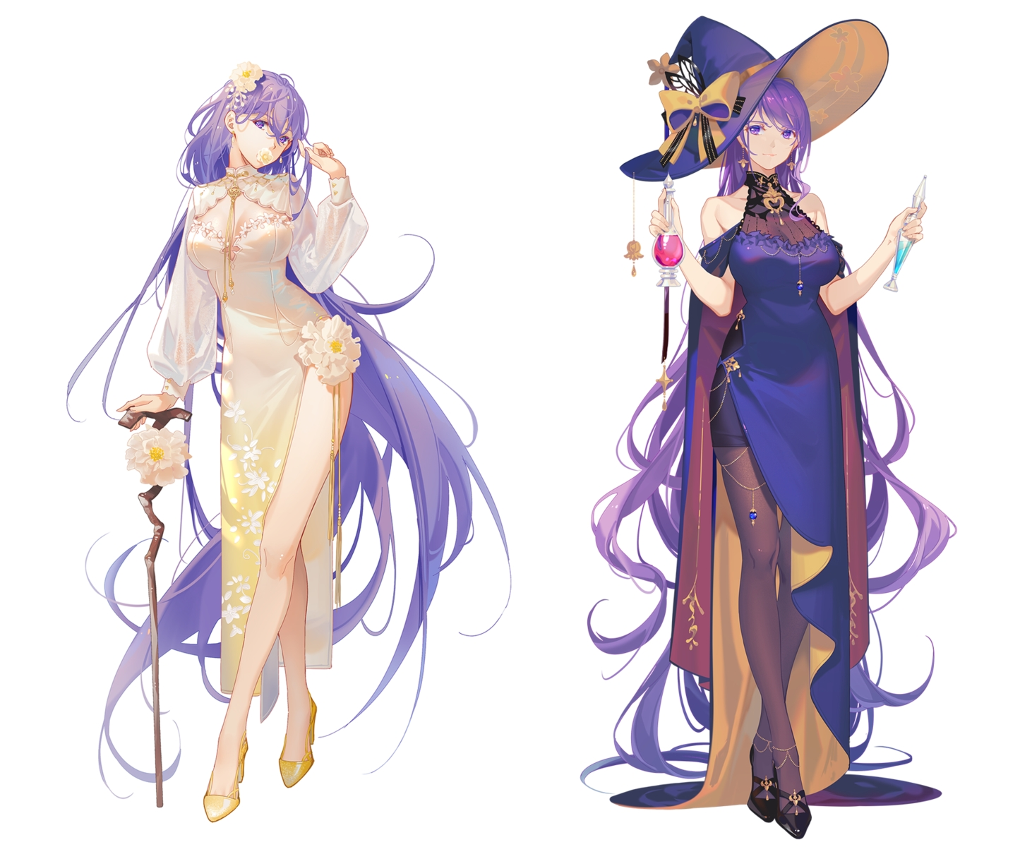 bow breasts cape chinese_clothes chinese_dress cleavage cosplay dress flowers hat long_hair mo_qingxian pantyhose purple_eyes purple_hair see_through staff tidsean vocaloid vsinger witch witch_hat