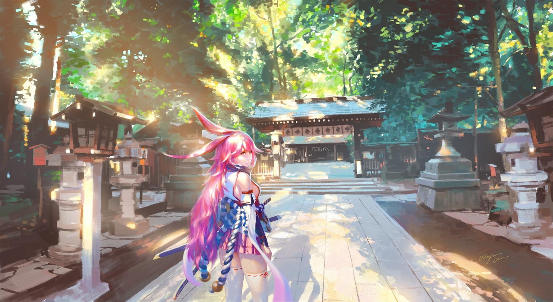 animal_ears bunny_ears honkai_impact japanese_clothes katana miko pink_hair shrine sword wayne_chan weapon yae_sakura_(benghuai_xueyuan)