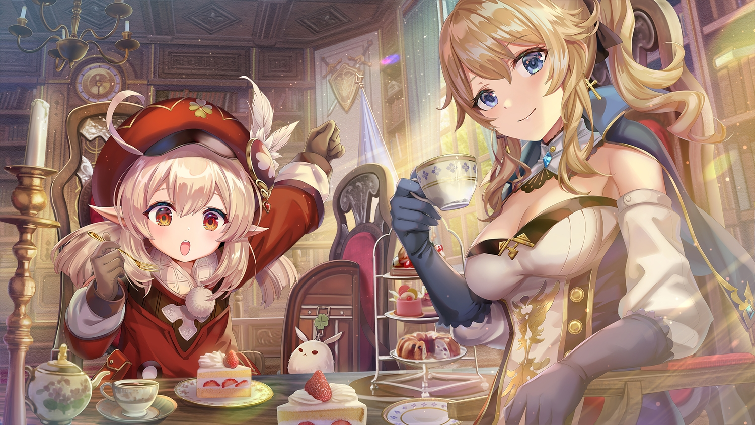 2girls blonde_hair blue_eyes bow breasts cake cape cleavage cross drink elbow_gloves food fruit genshin_impact gloves hat jean_gunnhildr klee_(genshin_impact) loli pointed_ears ponytail red_eyes short_hair strawberry torino_akua twintails