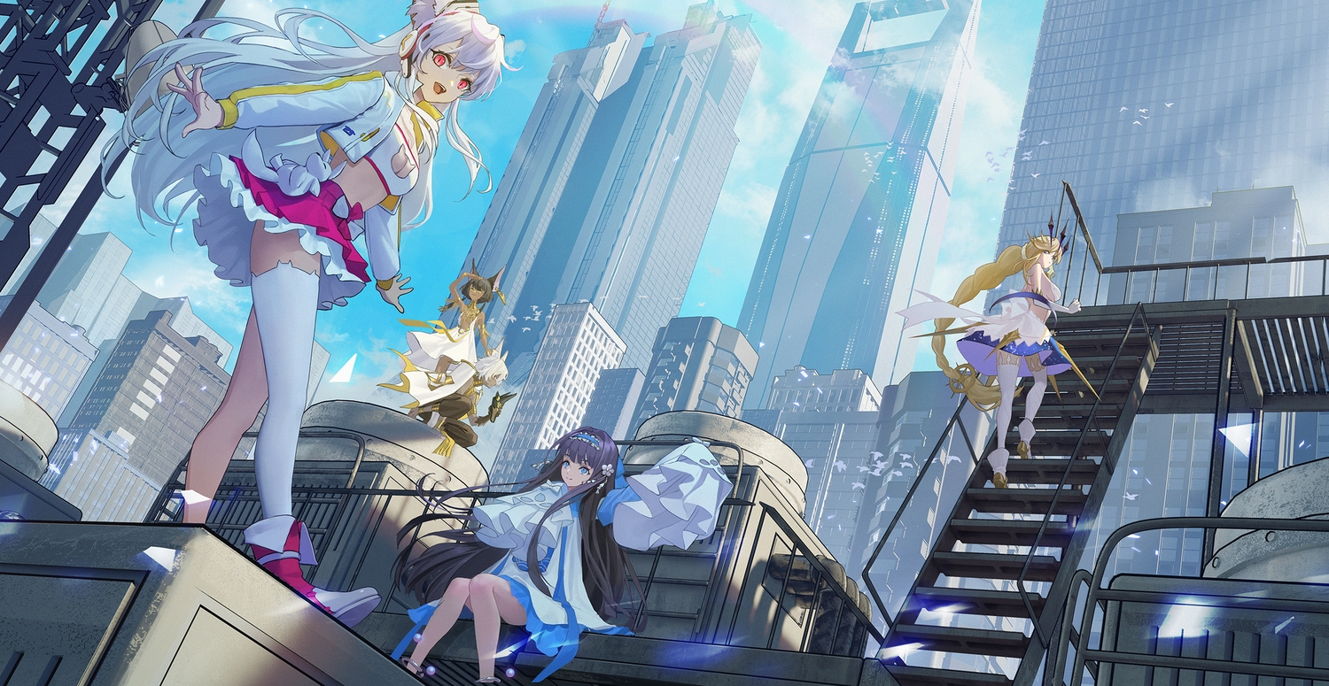 animal_ears building city codec007 group long_hair rooftop short_hair stairs thighhighs x2:_eclipse