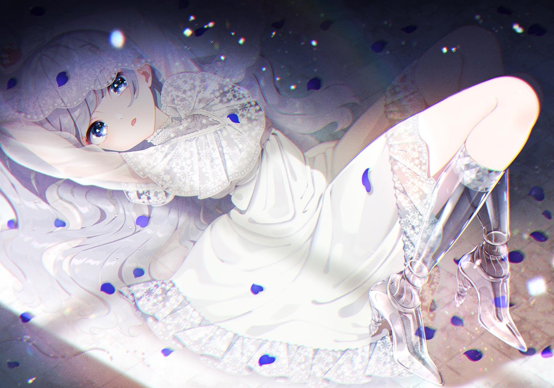 blue_eyes boots dress gray_hair long_hair mamyouda original petals
