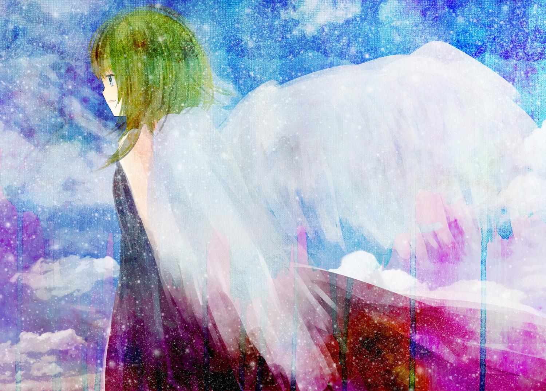 green_hair gumi hinanosuke vocaloid wings