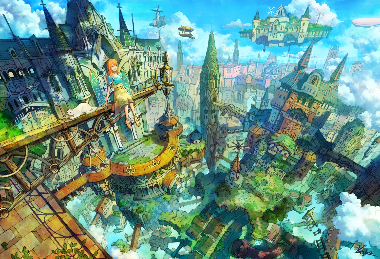 aircraft animal boat building cat city clouds dress kaitan orange_eyes orange_hair original scenic signed sky windmill