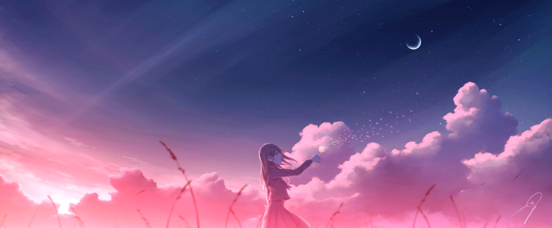 clouds flowers kijineko moon original polychromatic scenic school_uniform skirt sky stars sunset