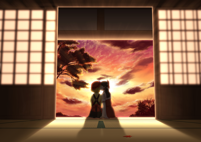 2girls aki_minoriko clouds hakurei_reimu japanese_clothes kiss kitanosnowwhite miko shoujo_ai sky sunset touhou