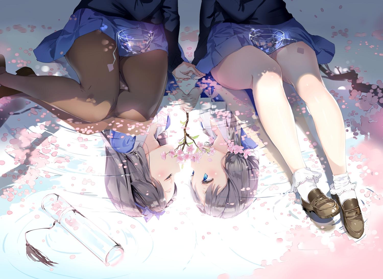 2girls anmi anthropomorphism blue_eyes brown_hair cherry_blossoms flowers pantyhose petals reflection school_uniform shoujo_ai socks water