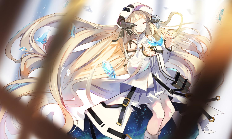 arknights blonde_hair boots dress hat horns long_hair mitu_yang nightingale_(arknights) waifu2x