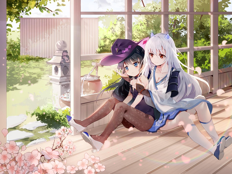 2girls amafuyu armor black_hair blue_eyes brown_eyes flowers hat hug japanese_clothes kneehighs long_hair pantyhose shoujo_ai white_hair witch_hat