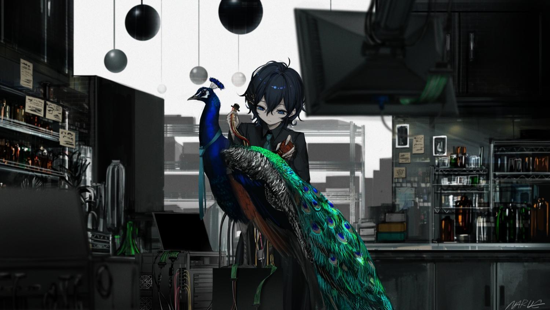 animal bird black_hair computer dark green_eyes naruwe original polychromatic robot shirt short_hair signed tie