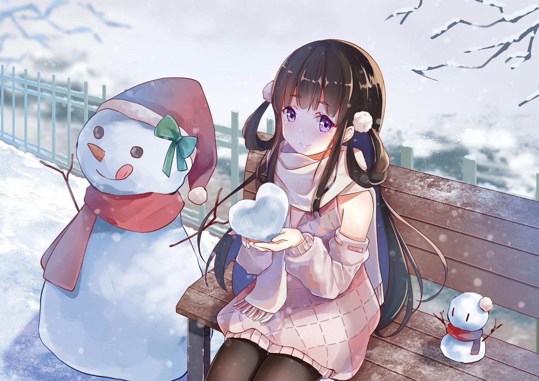 brown_hair dress long_hair original pantyhose purple_eyes scarf scarlet_dango snow snowman winter