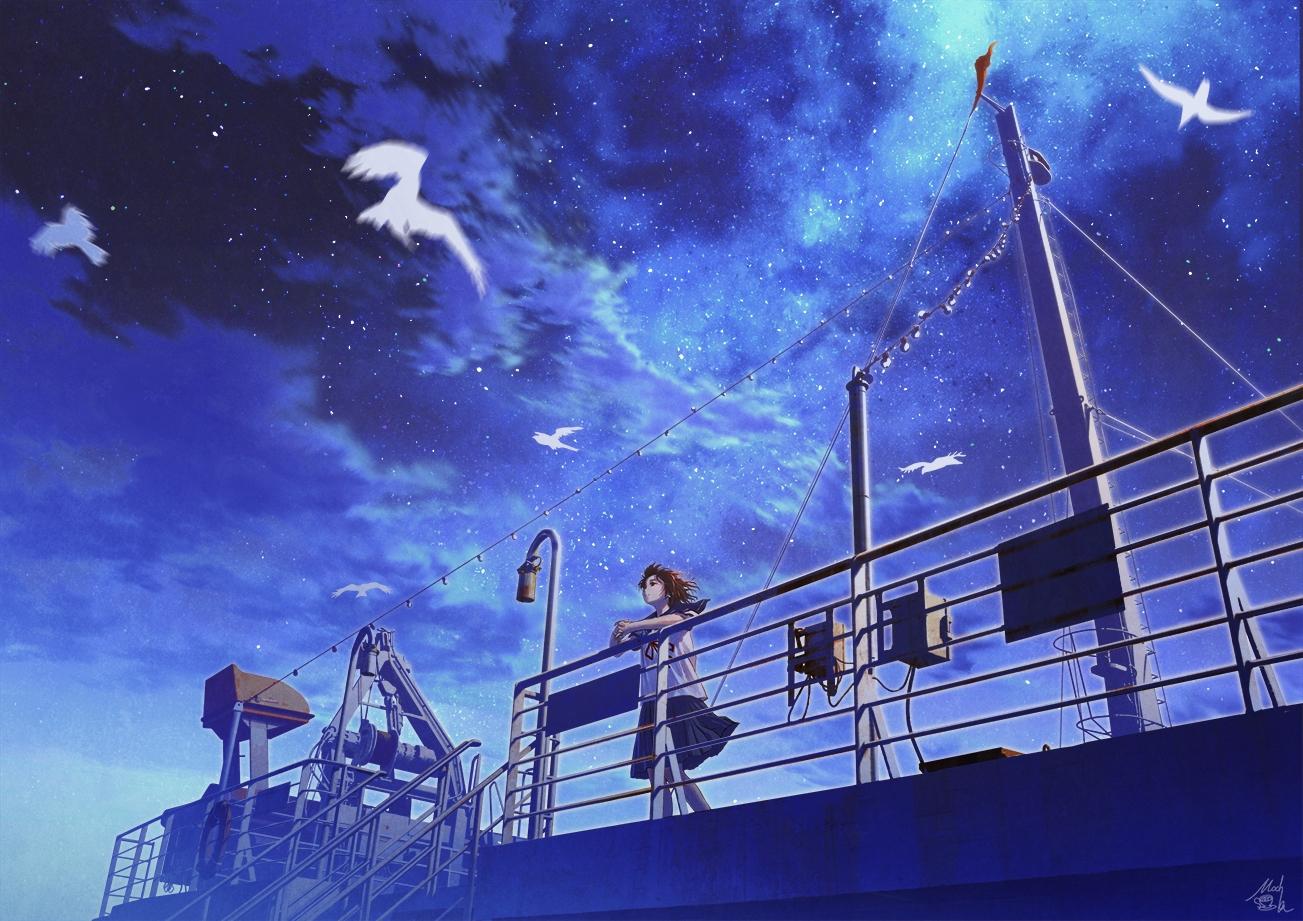 boat brown_hair clouds mocha_(cotton) night original scenic school_uniform short_hair signed skirt sky stars