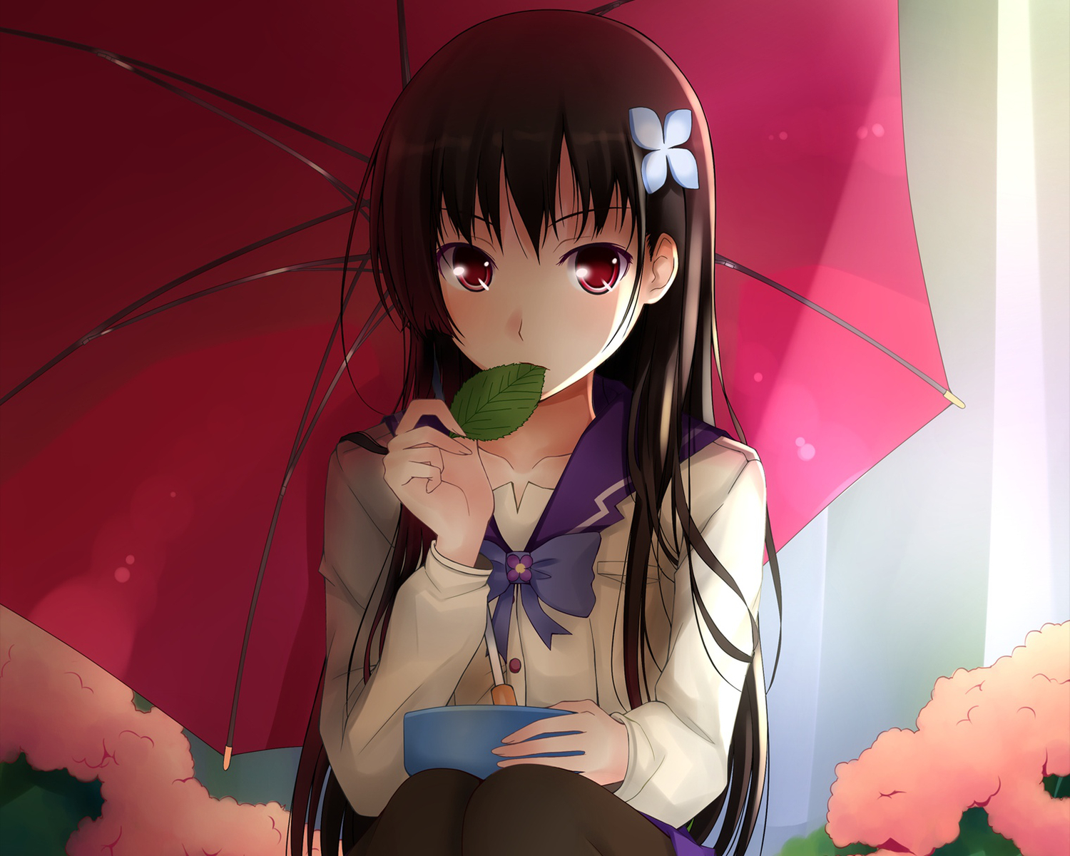 black_hair long_hair pantyhose qiuzhi_huiyi red_eyes sanka_rea sankarea seifuku umbrella