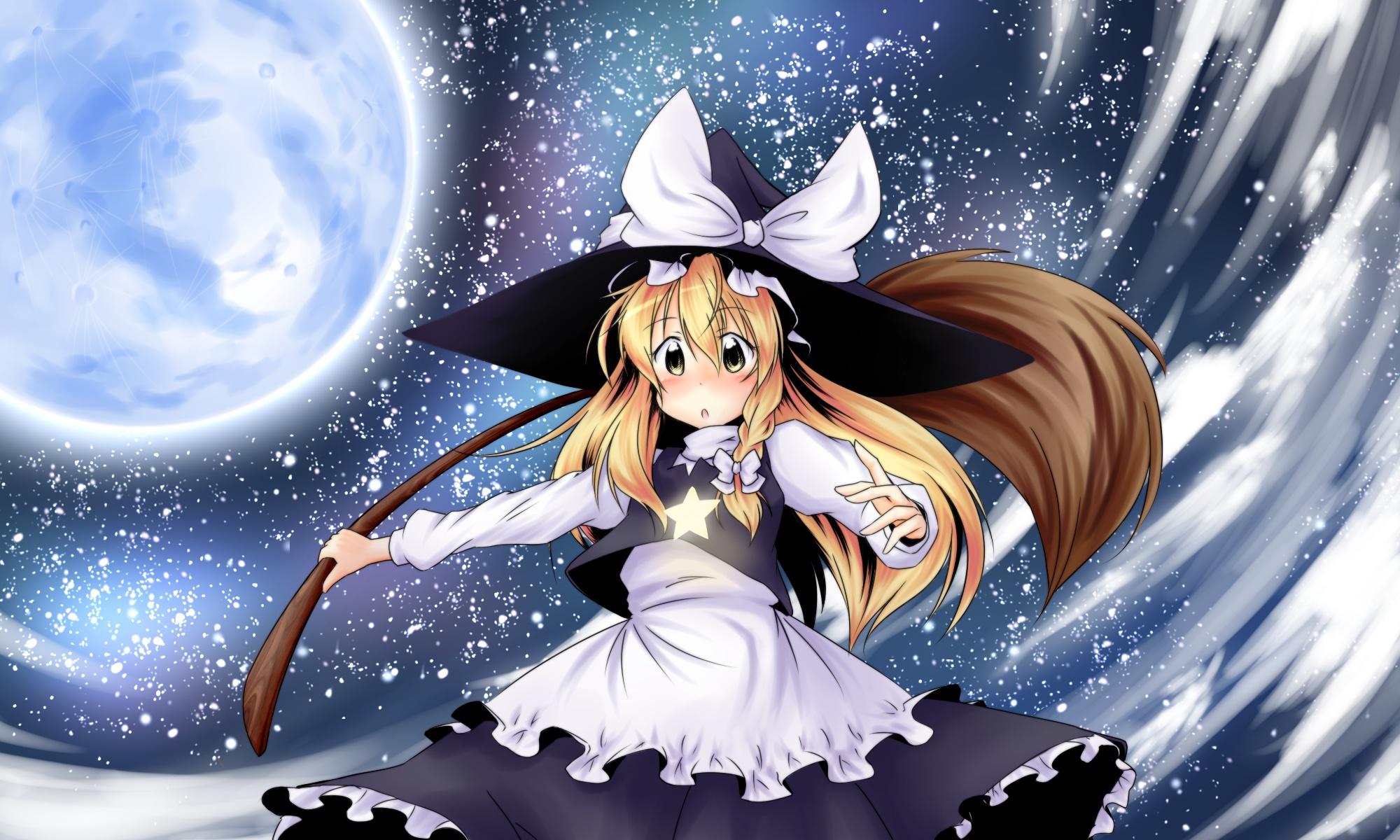 kirisame_marisa moon night touhou witch