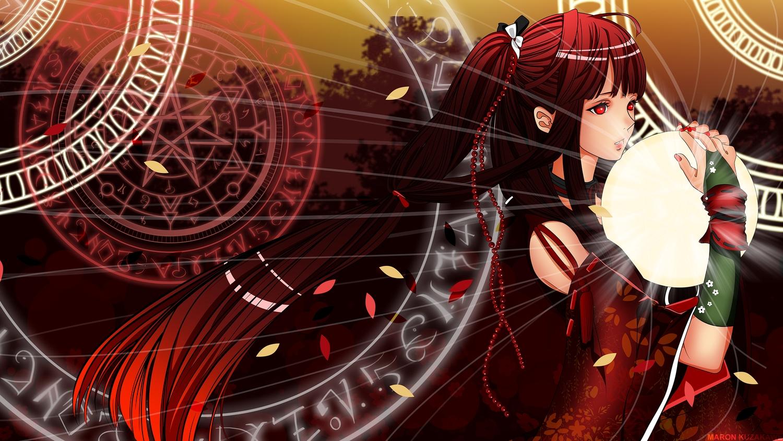 gloves kuzakawe_maron magic ponytail red_eyes red_hair tagme wristwear