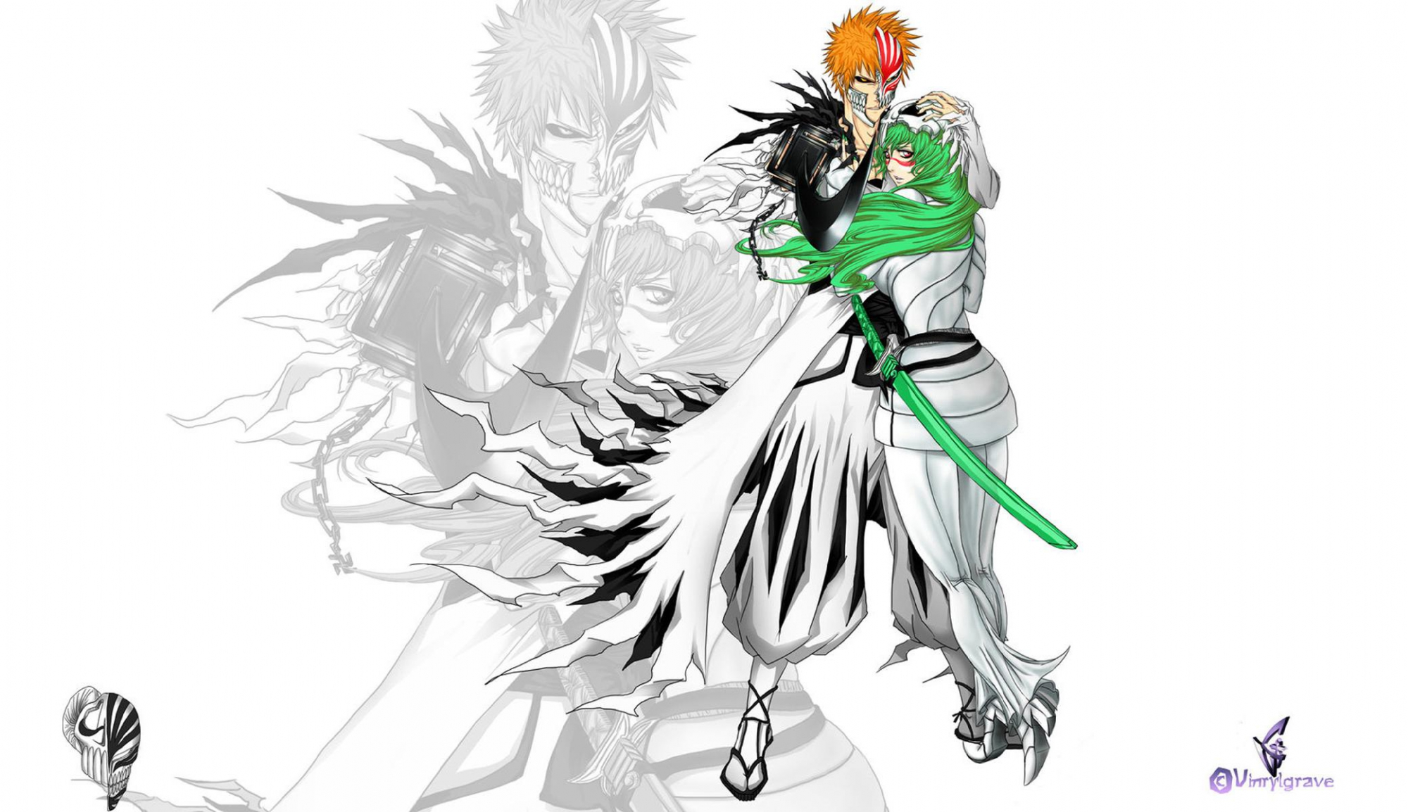 bleach green_hair kurosaki_ichigo long_hair neliel_tu_oderschvank orange_hair short_hair sword weapon white yellow_eyes