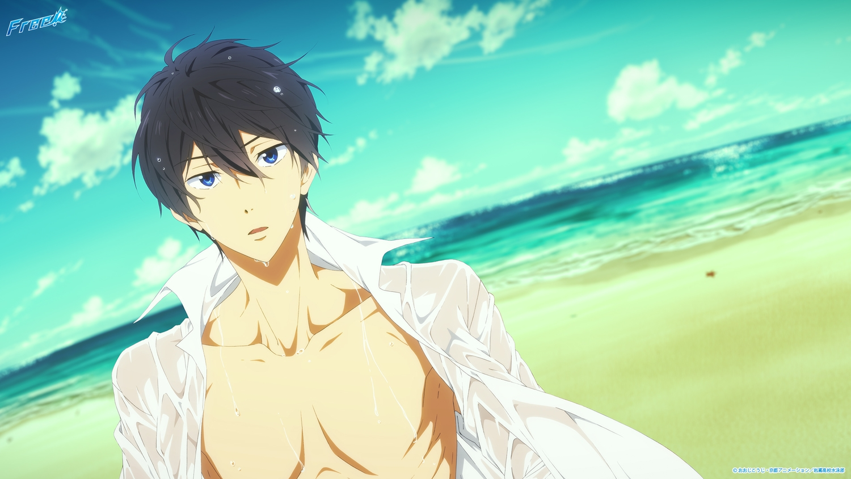 all_male beach black_hair blue_eyes free! logo male nanase_haruka open_shirt see_through tagme_(artist) wet