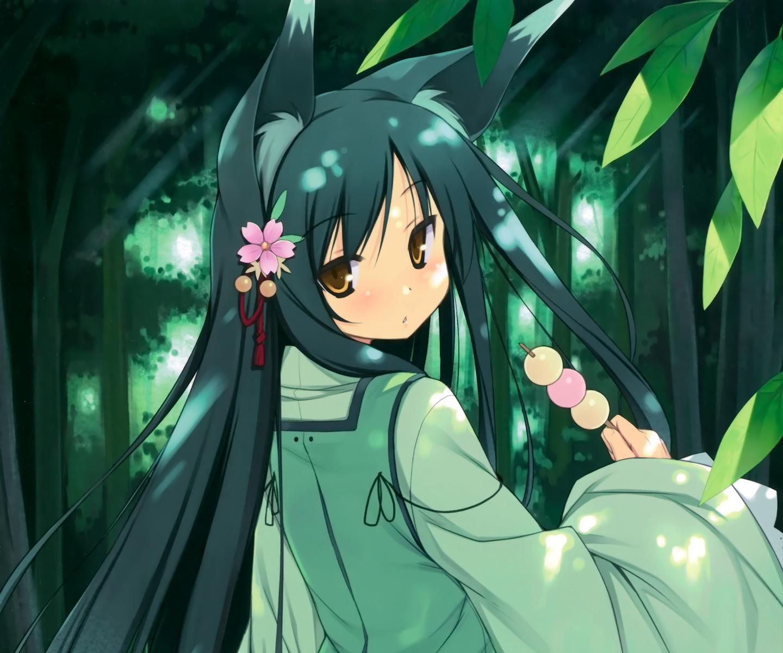 animal_ears food foxgirl green_hair japanese_clothes long_hair original poco scan yellow_eyes