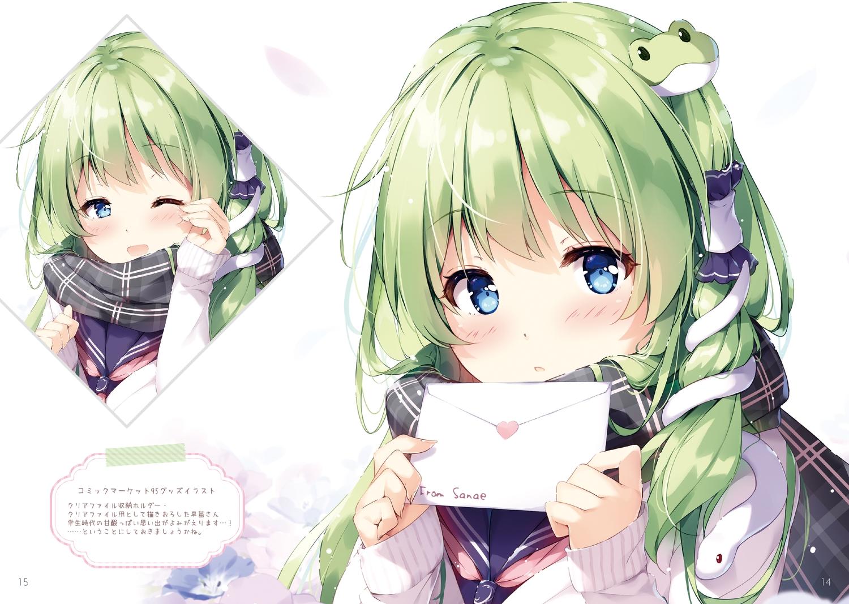 animal blue_eyes blush close green_hair kochiya_sanae long_hair miyase_mahiro paper scan scarf school_uniform snake touhou valentine wink