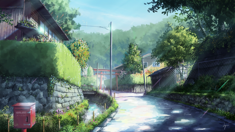 flowers niko_p nobody original scenic shade signed torii tree water