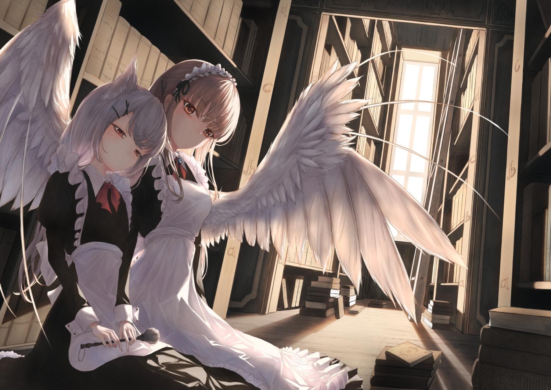 2girls aliasing amane_utata animal_ears blush book brown_eyes brown_hair gray_hair headband long_hair maid original red_eyes wings