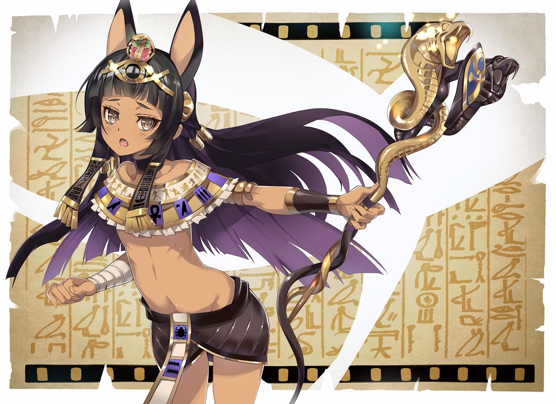 animal_ears bandage black_hair brown_eyes dark_skin doggirl fang headdress long_hair navel nyoronyoro original skirt staff wristwear