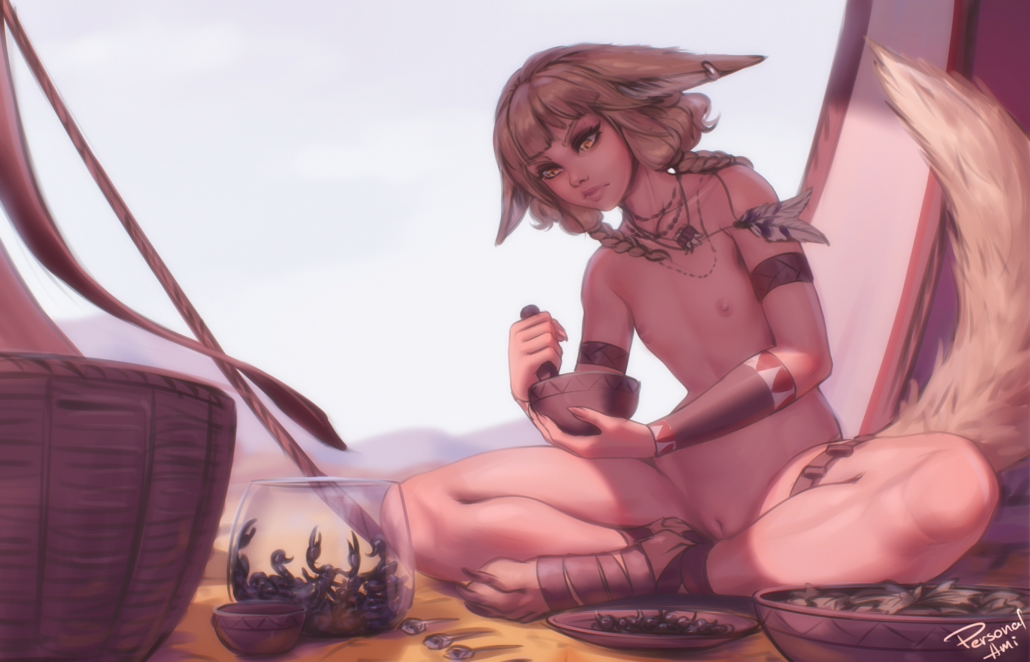 animal_ears brown_eyes brown_hair flat_chest foxgirl khiara_(personal_ami) navel necklace nipples nude original personal_ami pussy signed tail uncensored