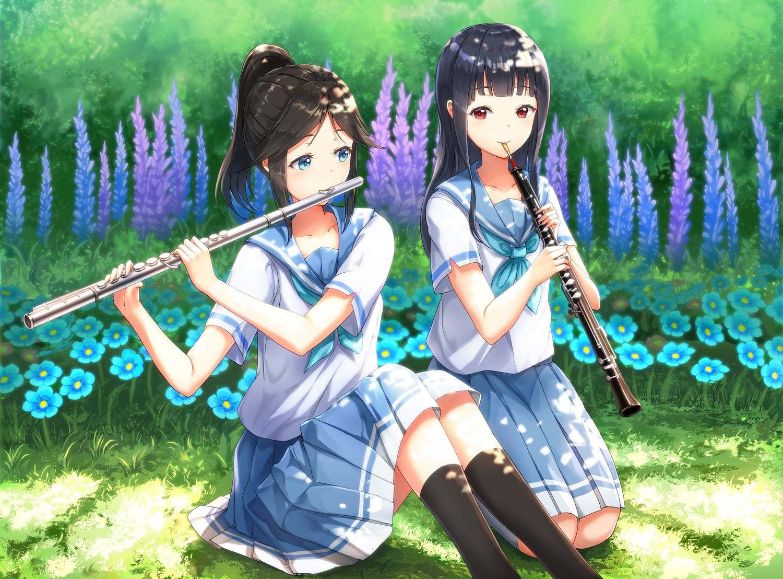 2girls hibike!_euphonium instrument kasaki_nozomi liz_to_aoi_tori lunacle yoroizuka_mizore