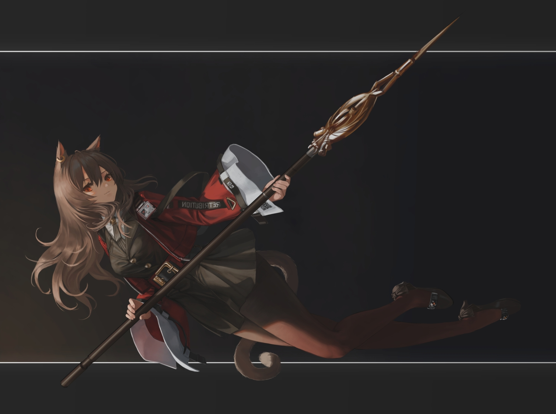 animal_ears arknights catgirl hara_shoutarou long_hair pantyhose red_eyes skyfire_(arknights) spear tail weapon