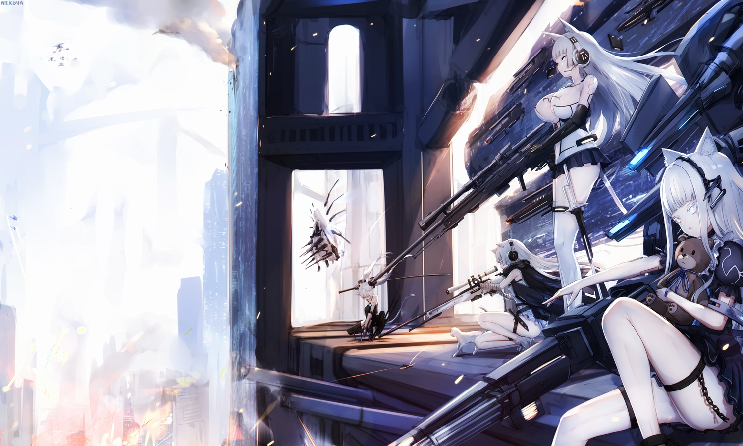 animal animal_ears anthropomorphism awp_(dyolf) bicolored_eyes breasts building cat catgirl dress dyolf girls_frontline group gun headphones knife long_hair original signed tail thighhighs twintails weapon white_hair