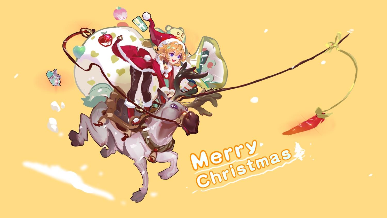apple blue_eyes christmas dress food fruit hat horns kang_kang_zi orange orange_hair original pointed_ears santa_costume santa_hat short_hair