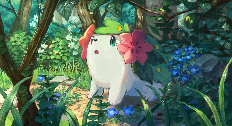 flowers forest pippi_(pixiv_1922055) pokemon shaymin tree
