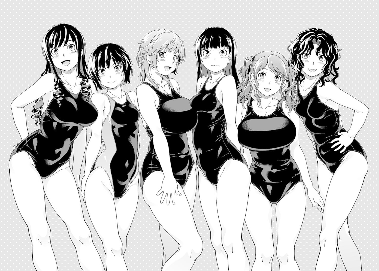 amagami ayatsuji_tsukasa black_hair blush breasts fukudahda gray_eyes gray_hair group long_hair monochrome nakata_sae nanasaki_ai sakurai_rihoko school_swimsuit swimsuit tanamachi_kaoru twintails